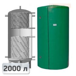 Акумуляційна ємність із двома теплообмінниками із нержавііючої сталі Kuydych ЕАІ-11-2000 2000 л