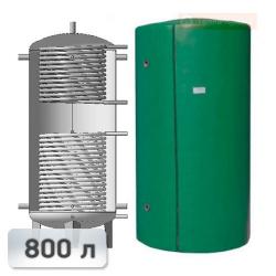 Акумуляційна ємність із двома теплообмінниками із нержавііючої сталі Kuydych ЕАІ-11-800 800 л